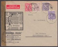 MiNr. 1, 8, 17a,b, MiF Auf Dek. Geschäftsbrief Mit Zensur - Zona Anglo-Americana