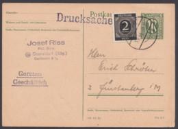 P 902, Bedarfs-Drucksachenkarte Mit Zusatzfrankatur - Zone Anglo-Américaine