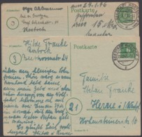 "P 6 C, 2 Bedarfskarten, Versch. Stempel ""Rostock 2"" - Zona Sovietica"