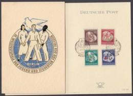 """MiNr. 289/92 """"Weltfestspiele"""", 1951, Pass.  Klappkarte Mit Ersttagssonderstempel - [6] République Démocratique"""