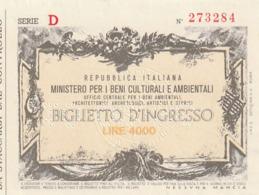 TICKET - ENTRADA / REP. ITALIANA - MINISTERO BENI CULTURALI AMBIENTALI -  ARCHITERRONICI ... 1986 - Tickets - Entradas