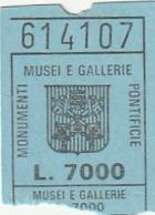 TICKET - ENTRADA / MONUMENTI MUSEI E GALLERIE PONTIFICIE - VATICANO 1986 - Tickets - Entradas