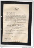Floris De Roest D'Alkemade Oem De Moesenbroeck Avocat Cour Appel °brux 1913 + 2/12/1946 T'Serclaes De Wommersom - Avvisi Di Necrologio