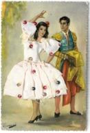 CPSM Carte Brodée Costume Espagne - Couple Espagnol - Brodées