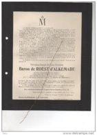 Theodore De Roest D'Alkemade Oem De Moesenbroeck Bourgmestre Beersel °1834 + Chateau D'Wersborsch Linkebeek Ukkel Calevo - Avvisi Di Necrologio