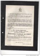 Comtesse De Robiano Princesse Charles De Croy °Rumillies 1868 + 19/9/1946 Tournai De Limburg Stirum D'Yve D'Ursel Croÿ - Avvisi Di Necrologio