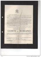 Ernest Comte De Robiano °MArchin 8/12/1857 + 22/9/1915 Grand Marchin Chateau Le Grelle De Gondrecourt Modave - Avvisi Di Necrologio