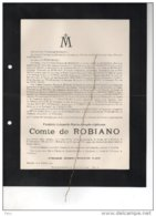 Frédéric Comte De Robiano °MArchin 1859 +25/1/1911 Etterbeek De Woelmont De Ternaco De Pellan D'Henrilpret - Avvisi Di Necrologio