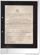 Mathilde Pycke De Peteghem Née De Robersart + 7/12/1916 83j Senaat D'oultremont De Robiano Mons Gent Wortegem-Petegem - Avvisi Di Necrologio