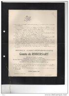 Albert Comte De Robesart Bourgmestre Nouvelles Hainaut °1824 + 7/4/1900 Senaat De Praslin San MArtino D'harcourt - Avvisi Di Necrologio