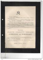 Juliette Comtesse De Robesart Chateau Wambrechies De Robiano °Mons1824 + 2/1/1900 Lettres Belge D'expression Française - Avvisi Di Necrologio