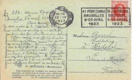 BELGIQUE -  BRUXELLES -  4e FOIRE COMMle BRUXELLES 9 25 AVRIL 1923 -  BELLE FRAPPE - Flammes