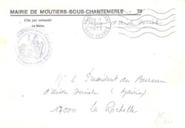 Deux Sèvres :- MONCOUTANT Franchise De La Mairie De MOUTIERS SOUS CHANTEMERLE - Marcophilie (Lettres)