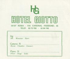 HOTEL GIOTTO - Tarjeta Cliente - ROMA - Italia