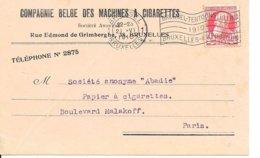 BELGIQUE -  BRUXELLES -  1910 BRUXELLES EXPOSITION ... SUR CARTE COMPAGNIE BELGE DES MACHINES A CIGARETTES - 1910 - Flammes