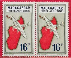 Madagascar PA N°38 & 38a Variété 16F Rouge, Olive & Bleu 1942-44 (6 Avec Crochet) ** - Madagascar (1889-1960)