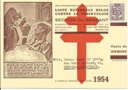 Belgium Antituberculosis Member'scard Year 1954 - Ziekte