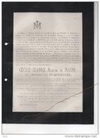 Baronne De Maere Née Van Remoortere °1801+ Gand 27/12/1883 De Vivario De Ramezée De Festraets Bonaert D'Hespel De Flencq - Avvisi Di Necrologio