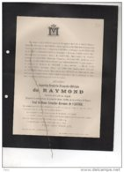 Augustin De Raymond Greffier Namur Veuf De Cartier °1841 + Bruxelles 14/2/1900 Belgrade Thon Forges Watermaal Bosvoorde - Avvisi Di Necrologio