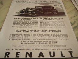 ANCIENNE PUBLICITE VOITURE LA PRIMASTELLA  RENAULT 1932 - Cars