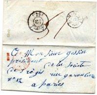 Paris - LAC Cachet Rge PP (du Bau Central) + B/2 Indicatif De Boitier (12 Avril 1848) - Marcofilia (sobres)