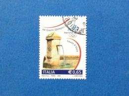 2004 ITALIA FRANCOBOLLO USATO STAMP USED GIOCHI OLIMPICI INVERNALI TORINO 2006 0,65 - 6. 1946-.. Repubblica
