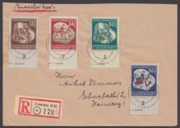 """MiNr. 289/92 """"Weltfestspiele"""", 1951, UR-Satz Mit Teil-HAN, R-Brief Mit Ankunft - [6] República Democrática"""