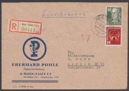 """MiNr. 293, Dek. MiF, Firmen-R-Brief """"Halle"""", 1951 - [6] République Démocratique"""