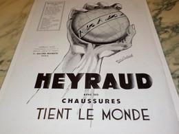 ANCIENNE PUBLICITE CHAUSSURE HEYRAUD  1933 - Vintage Clothes & Linen