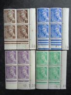 1938-41 - 8 COINS DATES MERCURE EN BLOC DE 4 & IRIS 434 COIN DATE BLOC DE 4 - 1930-1939