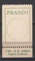 Svizzera 1943 Franchigia Unif. 9B **/MNH VF - Franchise