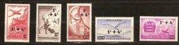 Monaco 1945 Yvertn° LP PA  8-12 *** MNH  Cote 4,00 Euro - Poste Aérienne