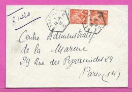 Lettre Recommandée Provisoire 2 Type IRIS  Oblitération Hexagone BAYONNE C  C  1945 - 1921-1960: Période Moderne