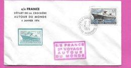 Lettre Timbre Paquebot Normandie Cachet S/S FRANCE 2è VOYAGE AU TOUR DU MONDE  Oblitération Le Havre Port 1974 - Posta Marittima