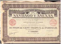 France. Action De 100 Francs Au Porteur 1928 + 36 Coupons. Compagnie Minière De Santiago Y Anexas. Déchirures - Mijnen