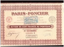 France. Action De 100 Francs Au Porteur 1928 + 28 Coupons. Paris Foncier. Société Anonyme. - Aandelen