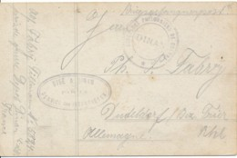 1914/18 Carte Prisonnier De Guerre Allemand Camp De Dinan. Visé A Dinan Service Des Interprètes - Marcofilie (Brieven)