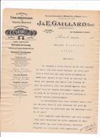 Courrier 1908 Chaudronnerie Batteries De Cuisine Glacières J. & E. Gaillard, 81 Fbg Saint-Denis, Paris - Frankreich