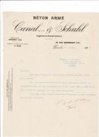 Courrier 1923 Béton Armé Canal & Schuhl, 82 Rue Damrémont, Paris - Frankreich