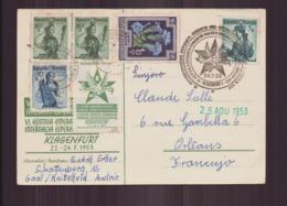 """Autriche Carte Du 24 Juillet 1953 à Klagenfurt , """" Congrès Esperanto """" - Otros"""