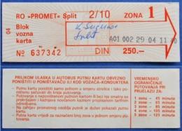 CROATIA OLD BUS TICKET 2/10 TIME ZONA 1 250.- Din.*PROMET* SPLIT - Europa