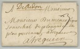 """Marque Manuscrite """"De Redon"""" + 3 Sols / LàC 1700 Pour Sénéchal De Plouguiel Et Plougrescant Près Tréguier . - Marcophilie (Lettres)"""