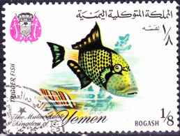 Jemen (Königreich Jemen) - Punktierter Drückerfisch (Pseudobalistes Flavomarginatus) (MiNr: 323) 1967 - Gest Used Obl - Yemen
