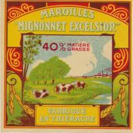 ETIQUETTE    DE FROMAGE  NEUVE   MAROILLES  MIGNONNET EXCELSIOR THIERACHE - Cheese