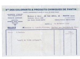Petite Facture 1936 Sté Des Colorants Et Produits Chimiques De Pantin, 29 Rue Méhul, Pantin - Frankreich