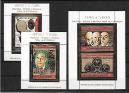 Guinée Equatoriale Guinea 3 Blocs Or Pablo Neruda ** - Writers
