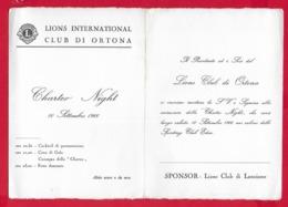INVITO ITALIA - LIONS INTERNATIONAL LANCIANO - Charter Night 10 Settembre 1966 - ORTONA Il Porto - 10 X 15 - Anuncios