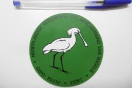 """Autocollant Stickers - Thème OISEAUX Grue Spatule Blanche """"VOGELSBECHERMING NEDERLAND"""" GIRO 29213 ZEIST - Stickers"""