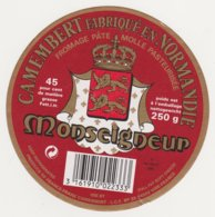ETIQUETTE DE CAMEMBERT LCF DUCEY 50 168 MONSEIGNEUR - Cheese