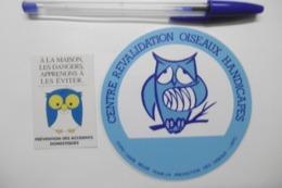 """Autocollant Stickers - Thème OISEAUX CHOUETTE HIBOU """"Centre Revalidation Des Oiseaux Handicapés"""" LBPO - Adesivi"""